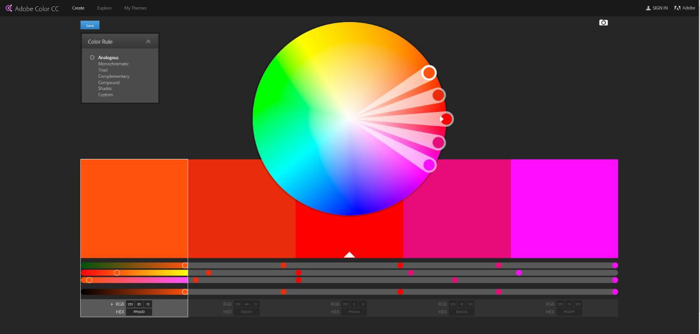 الألوان على البرامج الرقمية