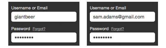 Username or email